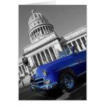 Coche azul viejo de Capitolio Tarjeta De Felicitación