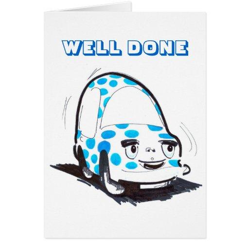 Coche bien hecho manchado del coche felicitación