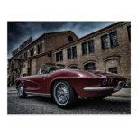 coche chevy clásico del músculo de corbeta tarjeta postal