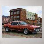 coche chevy del músculo del camaro 1968 póster