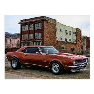 coche chevy del músculo del camaro 1968 tarjetas postales