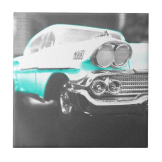coche clásico azul brillante del impala chevy 1958 azulejo cuadrado pequeño