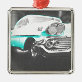 coche clásico azul brillante del impala chevy 1958 adorno cuadrado plateado