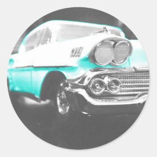 coche clásico azul brillante del impala chevy 1958 pegatina redonda