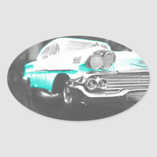 coche clásico azul brillante del impala chevy 1958 pegatina ovalada