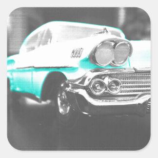 coche clásico azul brillante del impala chevy 1958 pegatina cuadrada