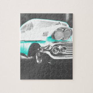 coche clásico azul brillante del impala chevy 1958 rompecabezas
