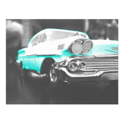 coche clásico azul brillante del impala chevy 1958 postal