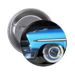 Coche clásico azul pin redondo 5 cm