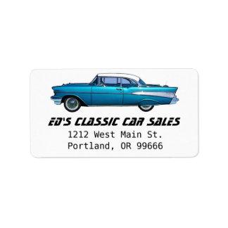 Coche clásico Chevy 1957 BelAire Etiqueta De Dirección