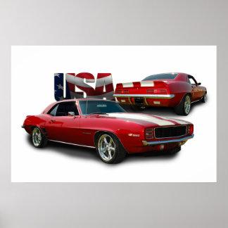 coche clásico del músculo póster