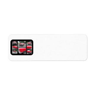Coche clásico rojo con collage del crome etiquetas de remite