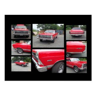 Coche clásico rojo con collage del crome tarjetas postales