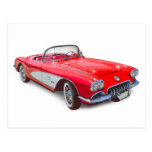 Coche clásico rojo convertible 1958 del Corvette Postales