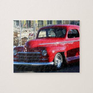 Coche clásico rojo puzzles con fotos