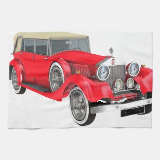 Coche clásico rojo toallas de cocina