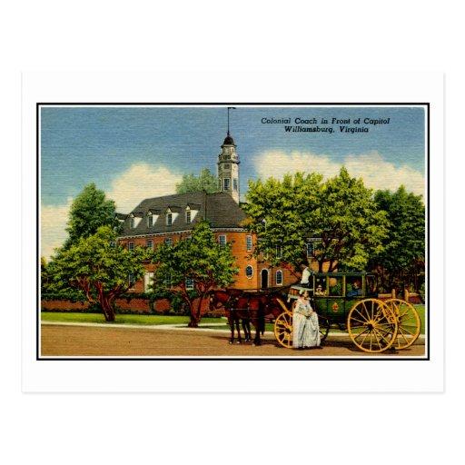 Coche colonial delante del capitolio Williamsburg  Postales