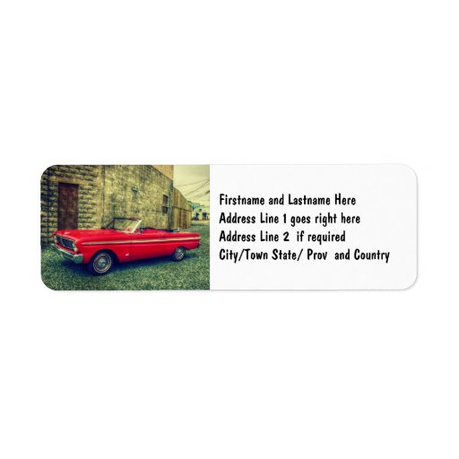 Coche convertible rojo del colector céntrico etiqueta de remite