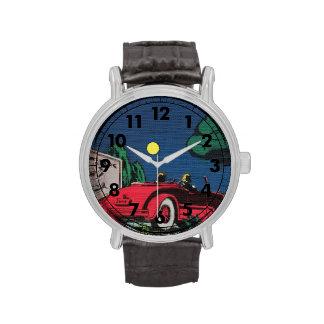 Coche convertible rojo del estilo cómico en claro  reloj