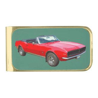 Coche convertible rojo del músculo de 1967 Camaro Clip Para Billetes Dorado