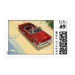 Coche convertible rojo, transporte del vintage sellos