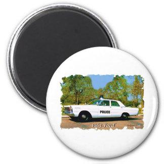 Coche de 1965 Ford.Police Imán Redondo 5 Cm