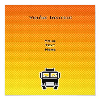 Coche de bomberos amarillo-naranja invitación 13,3 cm x 13,3cm