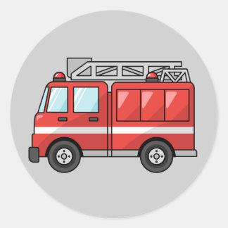 Coche de bomberos animado pegatina redonda