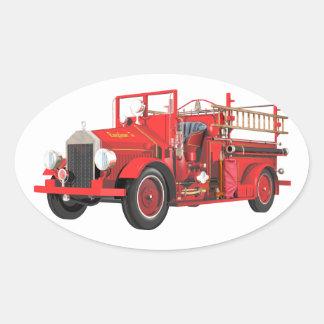 Coche de bomberos antiguo calcomania de oval