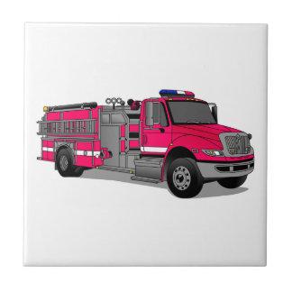 Coche de bomberos azulejo cuadrado pequeño