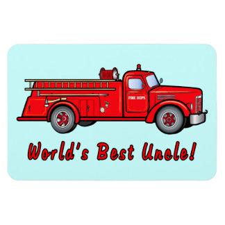 Coche de bomberos clásico: El mejor tío del mundo Imanes Rectangulares