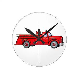 Coche de bomberos clásico reloj redondo mediano