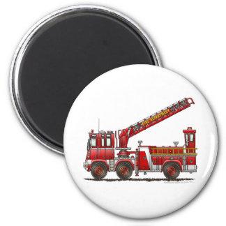 Coche de bomberos de gancho y de escalera imán redondo 5 cm