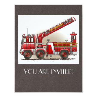 Coche de bomberos de gancho y de escalera invitación 10,8 x 13,9 cm