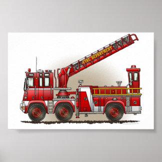Coche de bomberos de gancho y de escalera póster