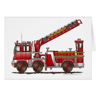 Coche de bomberos de gancho y de escalera tarjeta de felicitación
