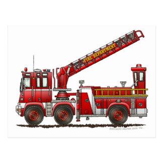 Coche de bomberos de gancho y de escalera tarjetas postales