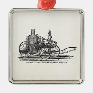 Coche de bomberos de la antigüedad del coche de adorno navideño cuadrado de metal