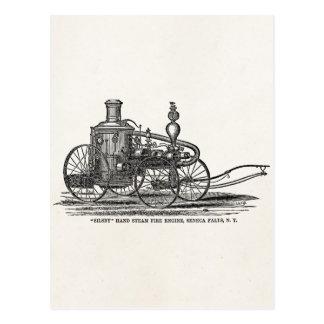 Coche de bomberos de la antigüedad del coche de tarjetas postales