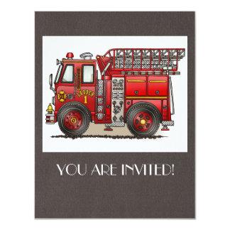 Coche de bomberos de la escalera invitación 10,8 x 13,9 cm