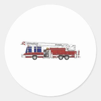 Coche de bomberos de la escalera pegatina redonda