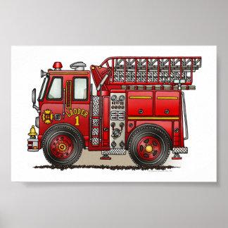 Coche de bomberos de la escalera póster