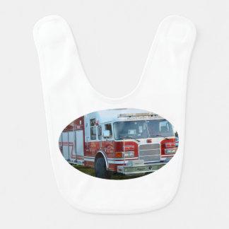 coche de bomberos de la parte frontal del baberos para bebé