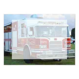 coche de bomberos de la parte frontal del invitación 12,7 x 17,8 cm
