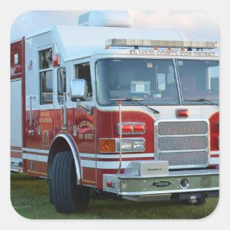 coche de bomberos de la parte frontal del pegatina cuadradas