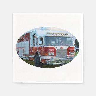 coche de bomberos de la parte frontal del servilleta de papel