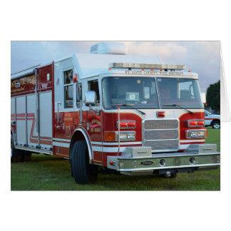 coche de bomberos de la parte frontal del tarjeta pequeña