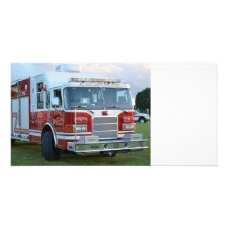 coche de bomberos de la parte frontal del tarjeta fotográfica personalizada