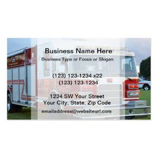 coche de bomberos de la parte frontal del tarjetas de visita