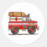 Coche de bomberos de Van Ambulance del rescate del Etiqueta